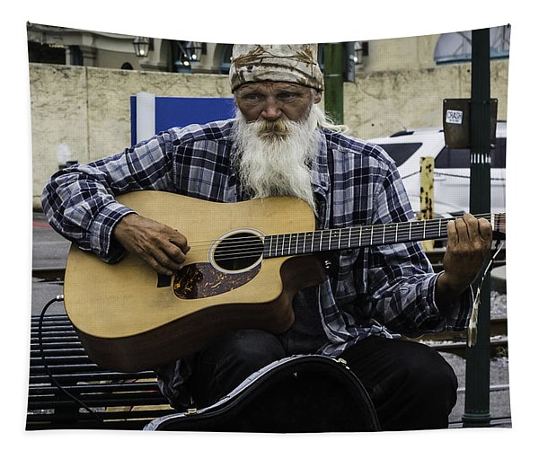 Busking In New Orleans, Louisiana Tapestry