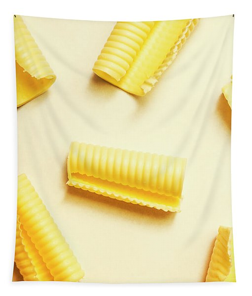 Butter Curls On White Background Tapestry