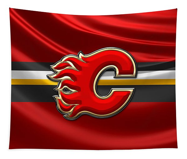 Calgary Flames - 3d Badge Over Flag Tapestry