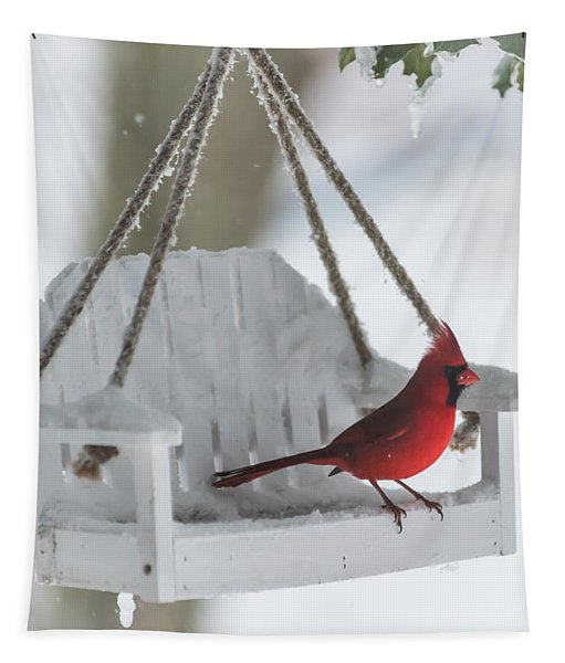 Cardinal On Swing In Snow Storm Tapestry