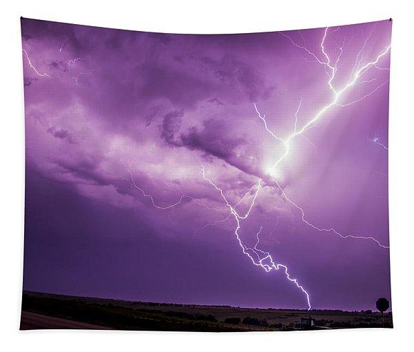 Tapestry featuring the photograph Chasing Nebraska Lightning 018 by NebraskaSC