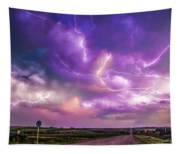 Tapestry featuring the photograph Chasing Nebraska Lightning 056 by NebraskaSC
