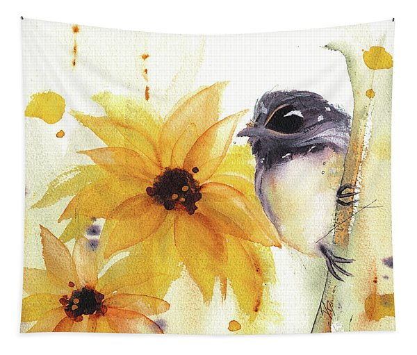 Chickadee And Sunflowers Tapestry