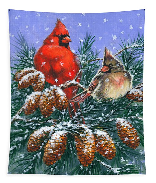 Christmas Cardinals #1 Tapestry