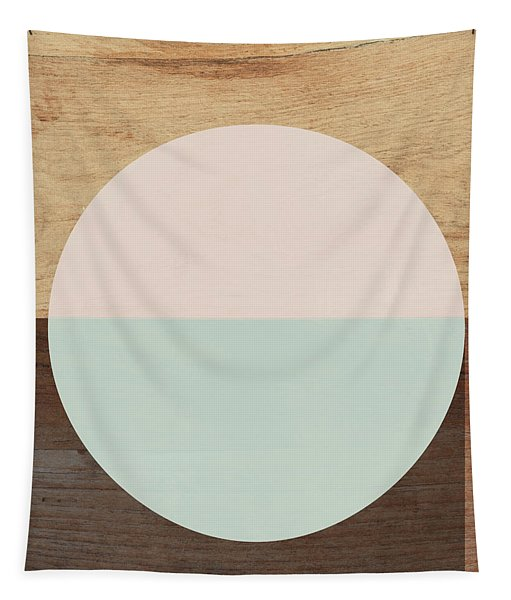 Cirkel In Peach And Mint- Art By Linda Woods Tapestry