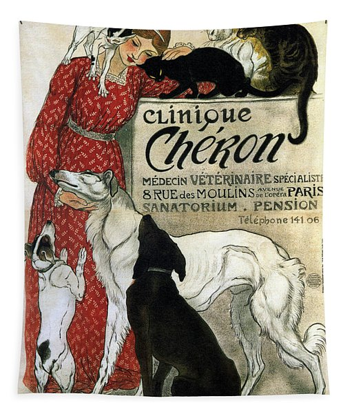 Clinique Cheron - Vintage Clinic Advertising Poster Tapestry