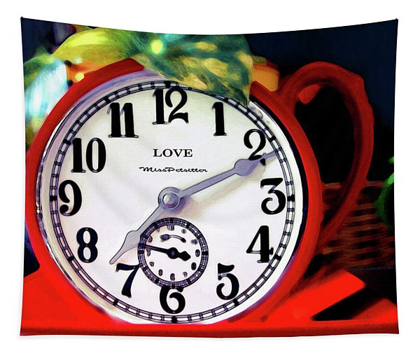 Clock In The Garden Painting  Tapestry