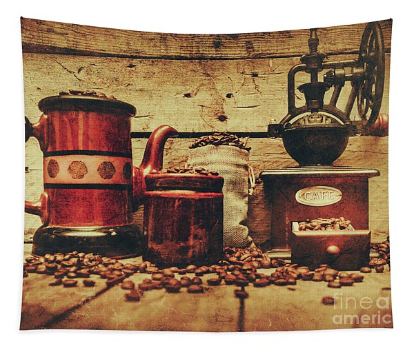 Coffee Bean Grinder Beside Old Pot Tapestry
