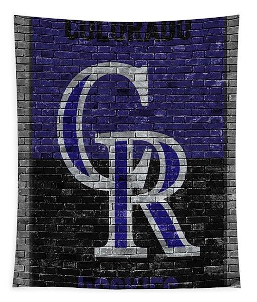 Colorado Rockies Brick Wall Tapestry