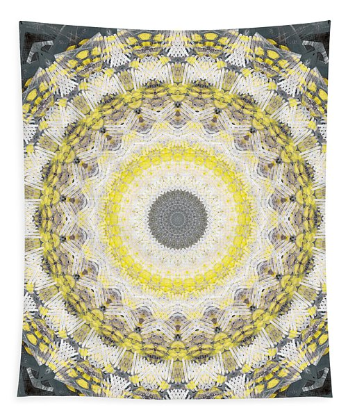 Concrete And Yellow Mandala- Abstract Art By Linda Woods Tapestry