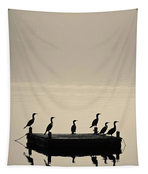 Cormorants And Dock Taunton River No. 2 Tapestry