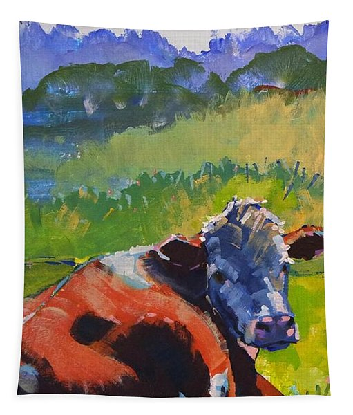 Cow Lying Down On A Sunny Day Tapestry