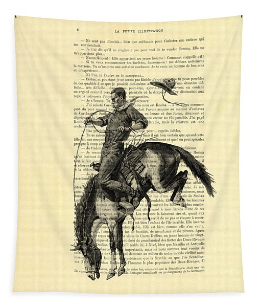 Cowboy And Horse, Western Art Tapestry