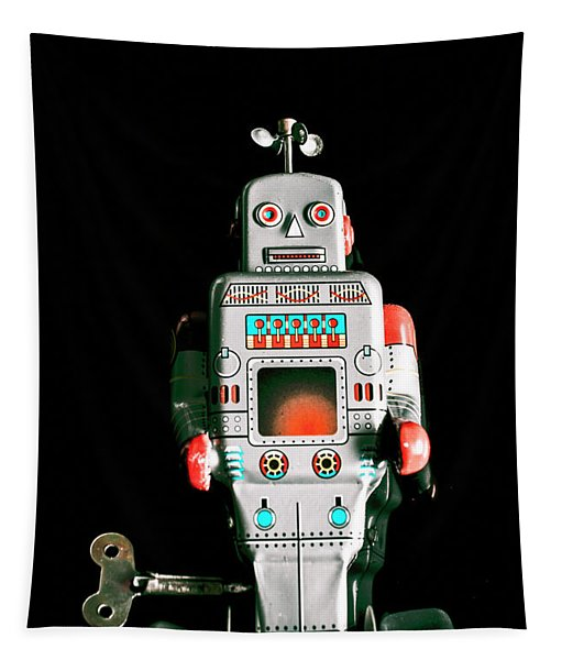 Cute 1970s Robot On Black Background Tapestry