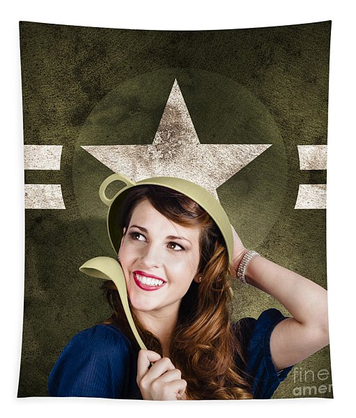 Cute Military Pin-up Woman On Army Star Background Tapestry