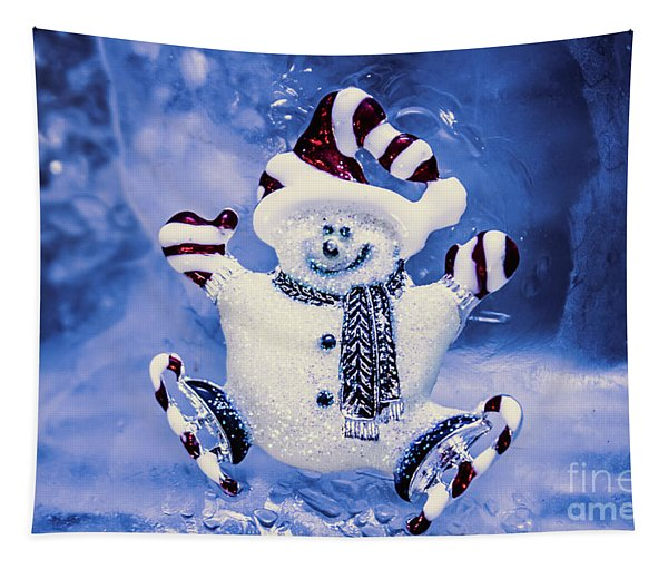 Cute Snowman In Ice Skates Tapestry