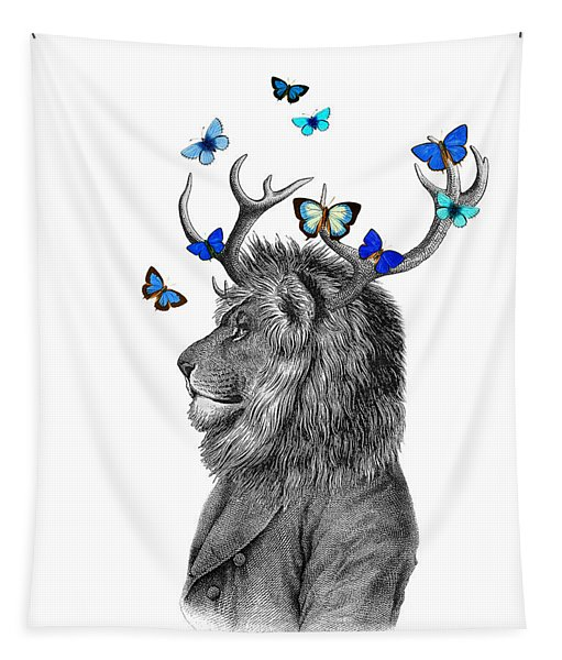 Dandy Lion With Antlers And Blue Butterflies Tapestry