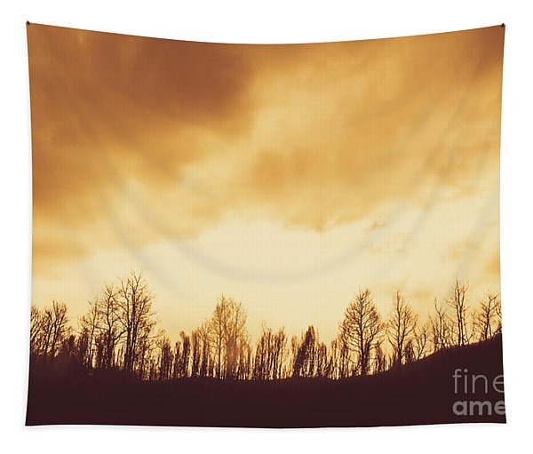 Dark Afternoon Woodland Tapestry