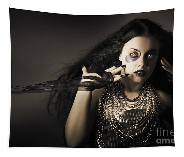 Dark Beauty Woman. Rich Jewellery And Black Nails Tapestry