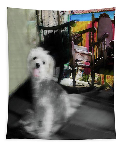 Dogie In The Patio Art  Tapestry
