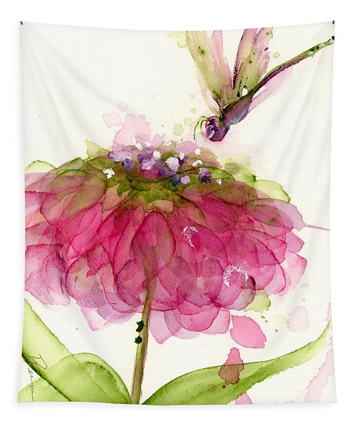 Dragonfly And Zinnia Tapestry
