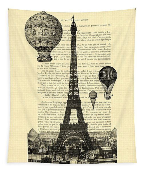 Eiffel Tower And Hot Air Balloons Tapestry