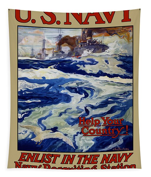 Enlist In The Navy - Help Your Country Tapestry