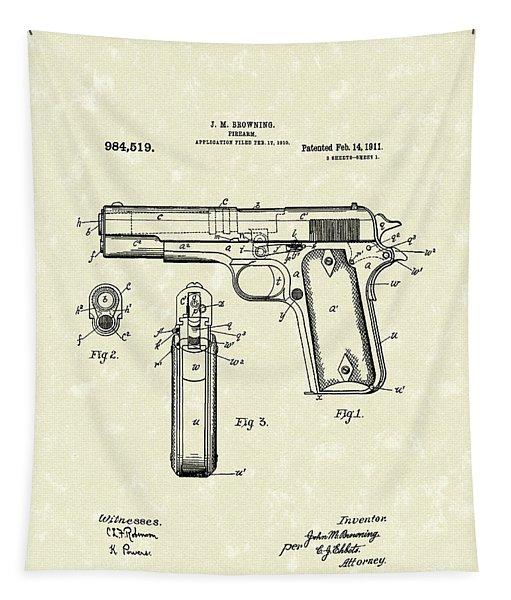 Firearm 1911 Patent Art Tapestry