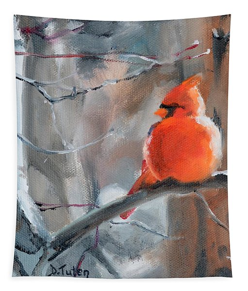 Fluffy Little Cardinal Tapestry