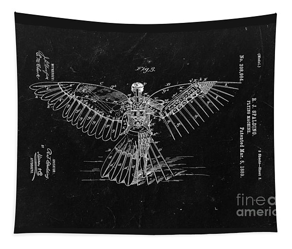 Flying Machine 1889 - Black Tapestry
