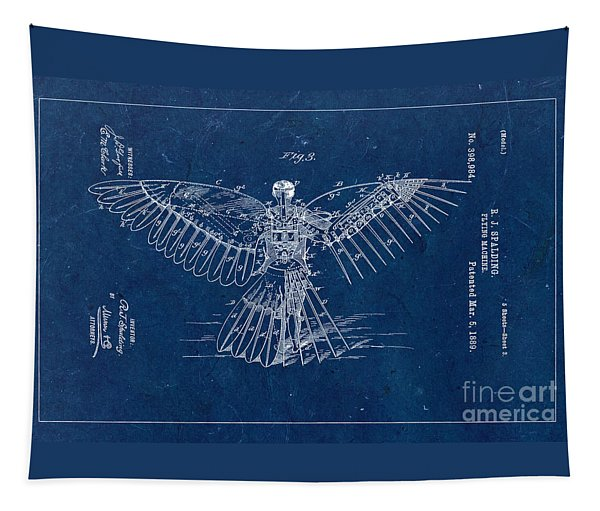 Flying Machine 1889 - Blue Tapestry