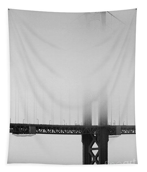Fog At The Golden Gate Bridge 4 - Black And White Tapestry