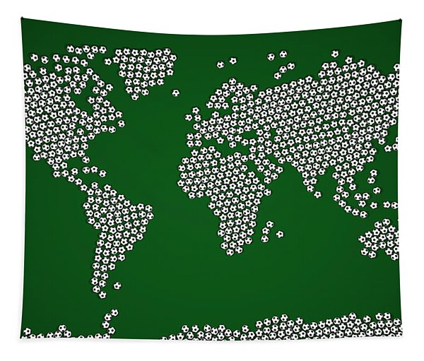 Football Soccer Balls World Map Tapestry