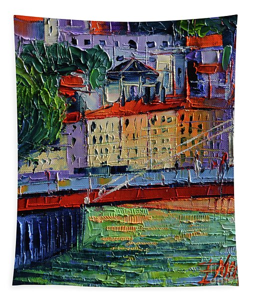 Footbridge On The Saone River Tapestry