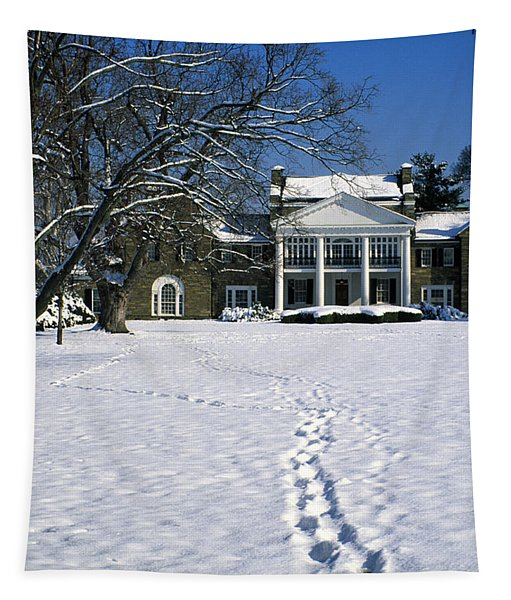 Footprints In The Snow To The Rockville Civic Center Mansion In Maryland Tapestry