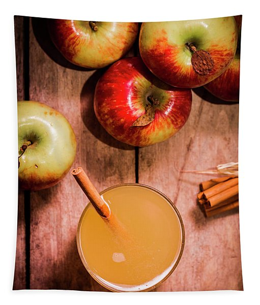 Fresh Apple Cider With Cinnamon Sticks And Apples Tapestry