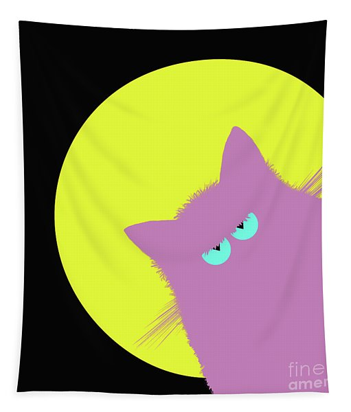 Full Moon Lilac Cat Tapestry