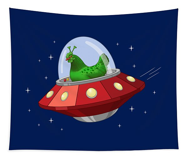 Funny Green Alien Martian Chicken In Flying Saucer Tapestry