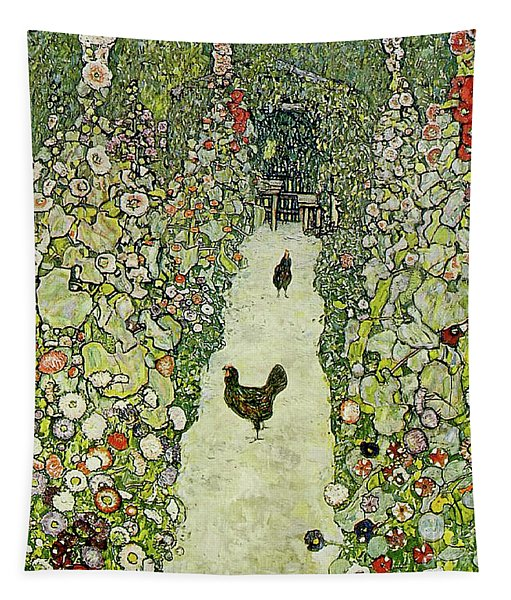Garden With Chickens Tapestry