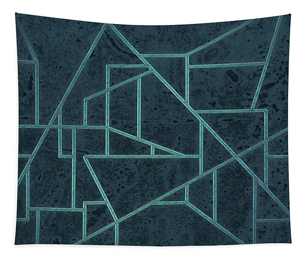 Geometric Abstraction In Blue Tapestry