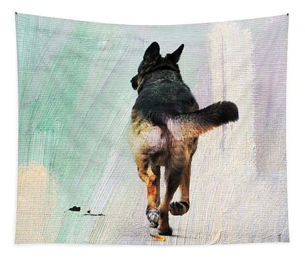 German Shepherd Taking A Walk Tapestry