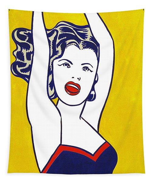 Girl With Ball - Pop Art - Roy Lichtenstein Tapestry