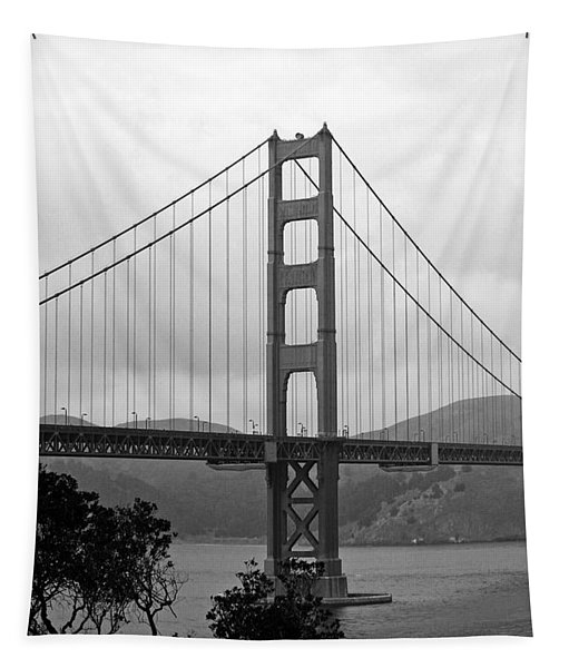 Golden Gate Bridge- Black And White Photography By Linda Woods Tapestry