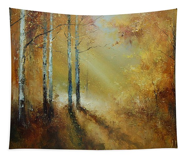Golden Light In Autumn Woods Tapestry