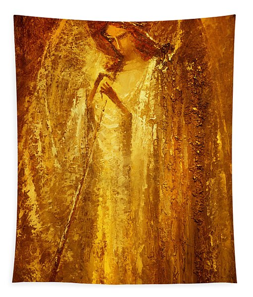 Golden Light Of Angel Tapestry