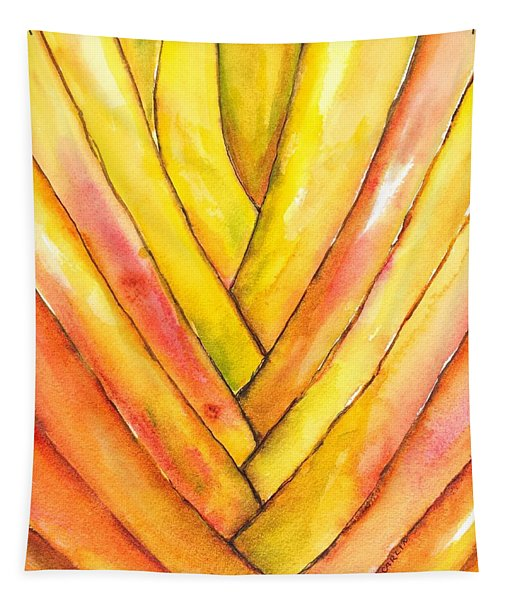 Golden Travelers Palm Trunk Tapestry