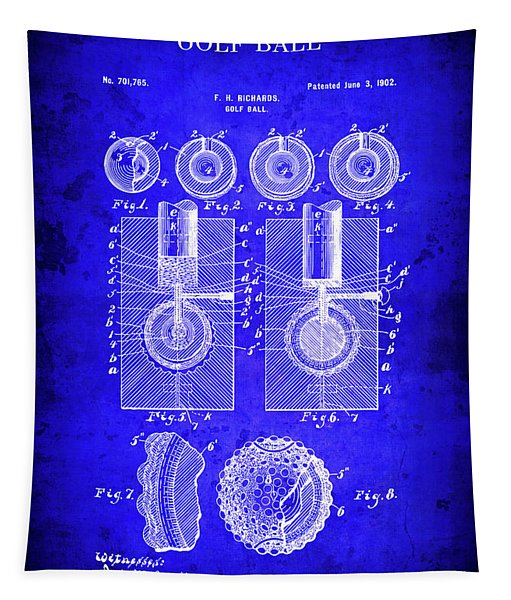 Golf Ball Blueprint Patent  1902 Tapestry