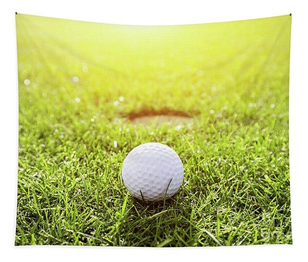 Golf Ball On A Grass. Sunshine Tapestry