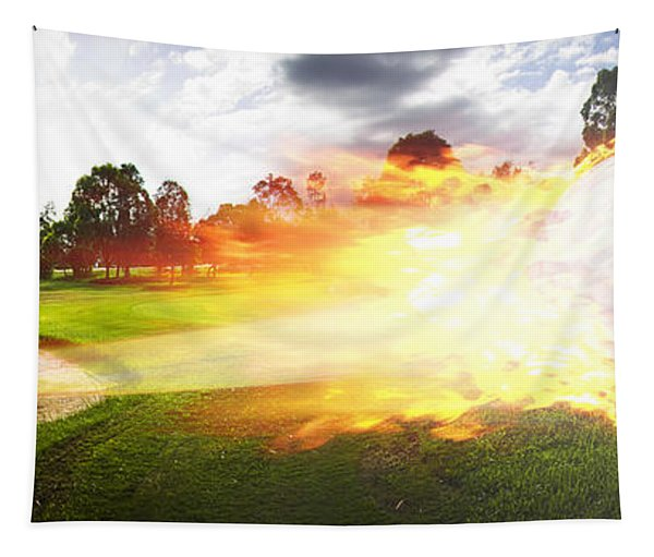 Golf Ball On Fire Tapestry