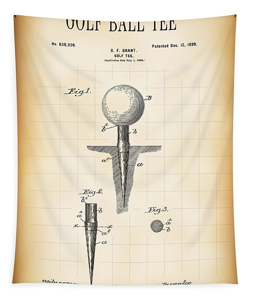 Golf Ball Tee Patent  1899 Tapestry